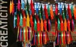 Creaticity creates colour drop fabric chandelier to capture the spirit of rainbow