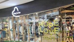 Being Human's window displays 'Love' and 'Hope' in 2021